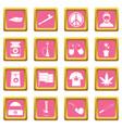 rastafarian icons pink vector image vector image