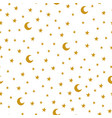 seamless pattern with cartoon stars and moon on vector image vector image