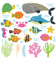 set isolated with animals sea part 2 vector image