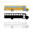 set of flat school bus icon cartoon outline vector image vector image