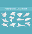 set of paper planes airplane and cranes vector image vector image
