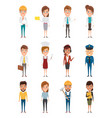set of people in occupation character of vector image