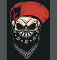 skull in a red cap vector image vector image