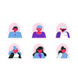 social media avatars people icons set vector image