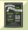wedding invitation card with green floral leaves vector image