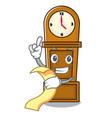 with menu grandfather clock mascot cartoon vector image
