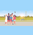 young people group using selfie stick taking photo vector image