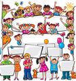 Set of kids standing behind placard vector image