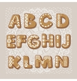 Christmas cookie alphabet font vector image