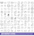 100 money icons set outline style vector image