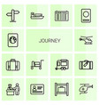 14 journey icons vector image vector image