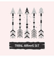 abstract gray tribal arrows set on pink background vector image vector image