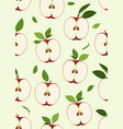 apple seamless pattern and slice with leaves on vector image