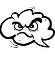 black and white angry freehand drawn cartoon cloud vector image vector image