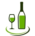 bottle and glass of white wine vector image vector image