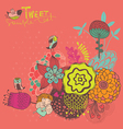 Bright background with flowers and birds vector image