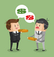 businessmens discussion for money vector image