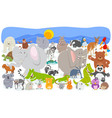 cartoon animal characters crowd background vector image vector image