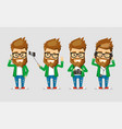 character men hipster the set of poses with the vector image vector image