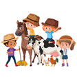 children with farm animals vector image vector image