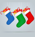 christmas socks set of festive decorations with vector image vector image