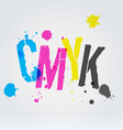 CMYK letters in paint splashes vector image