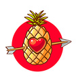 colorful pineapple with heart and arrow o vector image vector image