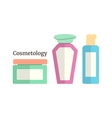 cosmetology with colored flacons vector image