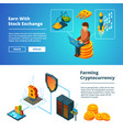 cryptocurrency business banners global ico vector image