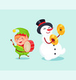cute elf playing on drum snowman with cymbal music vector image vector image
