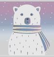 cute winter bear wit shiny scarf and beautiful