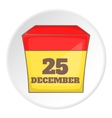 December 25 calendar icon cartoon style vector image
