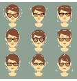 Different sunglasses suitable for women faces type vector image vector image