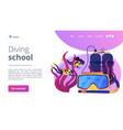 diving school concept landing page vector image vector image