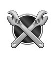 double wrench cross garage emblem vector image vector image