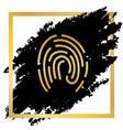 fingerprint sign golden icon vector image