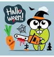 Halloween Crazy Rabbit in witch hat Cartoon vector image