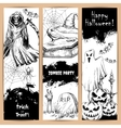Halloween posters with sketched black elements vector image