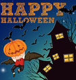 Halloween theme with haunted house vector image