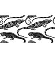 hand sketched reptiles seamless pattern exotic vector image