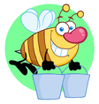 Happy Honey Bee Flying With A Buckets vector image