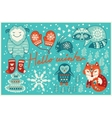 Hello winter card in cartoon style vector image vector image