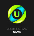 letter u logo symbol in the colorful circle vector image vector image