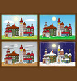 little village in four seasons vector image