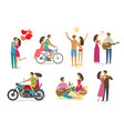 loving couple set of icons family love concept vector image vector image