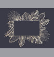 luxury frame of golden tropical leaves on black vector image vector image