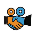 movie making handshake camera vector image