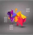 multicolored 3d triangles abstraction element vector image vector image