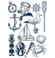 nautical object set in vintage engraving style vector image