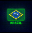 neon brazil flag vector image vector image